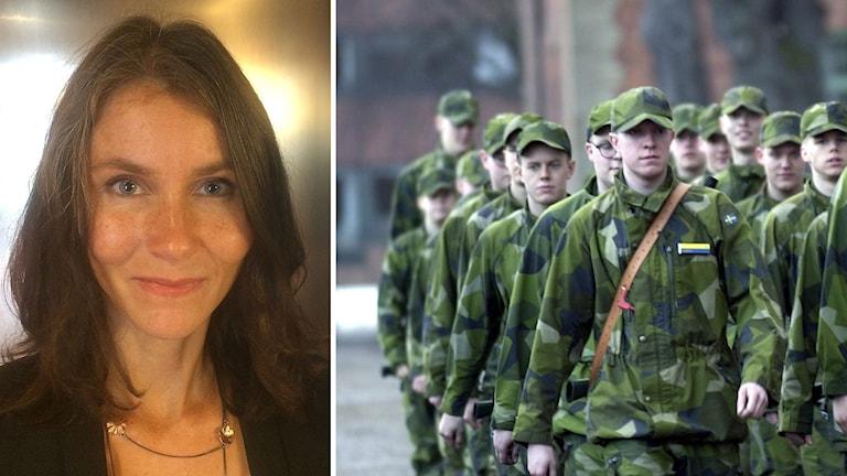 utredaren Annika Nordgren Christenssen i montage med killar i militärklädsel
