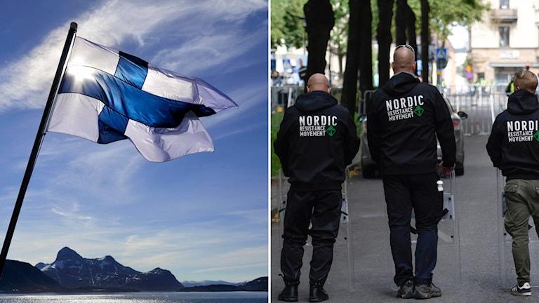 Finlands flagga och personer från NMR med ryggen mot kameran.