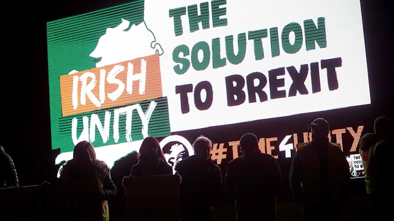 Folk protesterar mot en hård brexit i Nordirland tidigare i veckan .