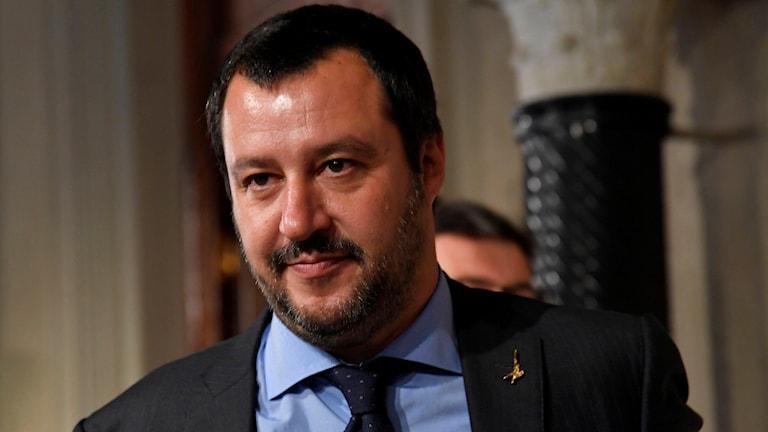 La Legas partiledare Matteo Salvini vid ett möte 14 maj.