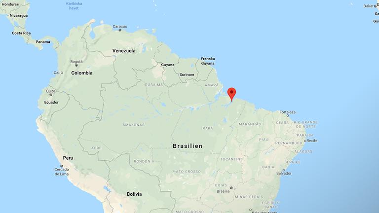 Karta över Brasilien.