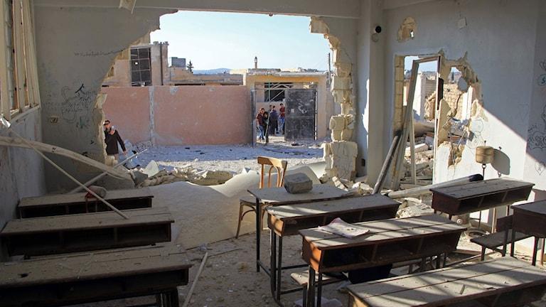 Attack mot en skola i Idlib-provinsen i Syrien.