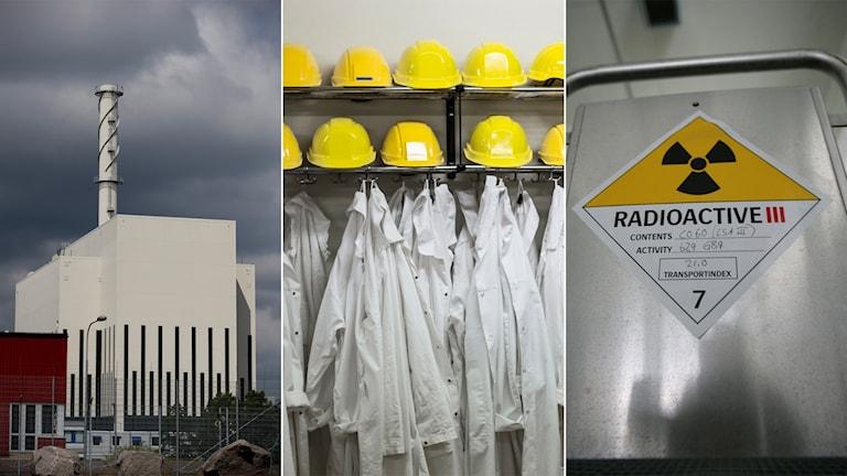 Tredelad bild: Kärnkraftverk, upphängda skyddsrockar, radioaktiv behållare med varningssymbol.