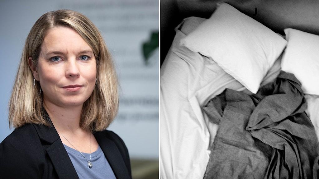Delad bild: kvinna, obäddad säng.