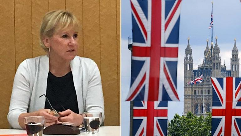Sveriges utrikesminister Margot Wallström och brittiska flaggor.