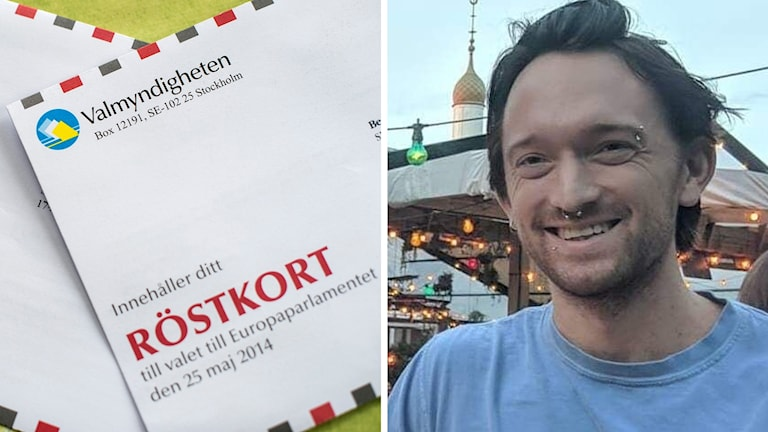 Split image: voting card and a man, smiling.