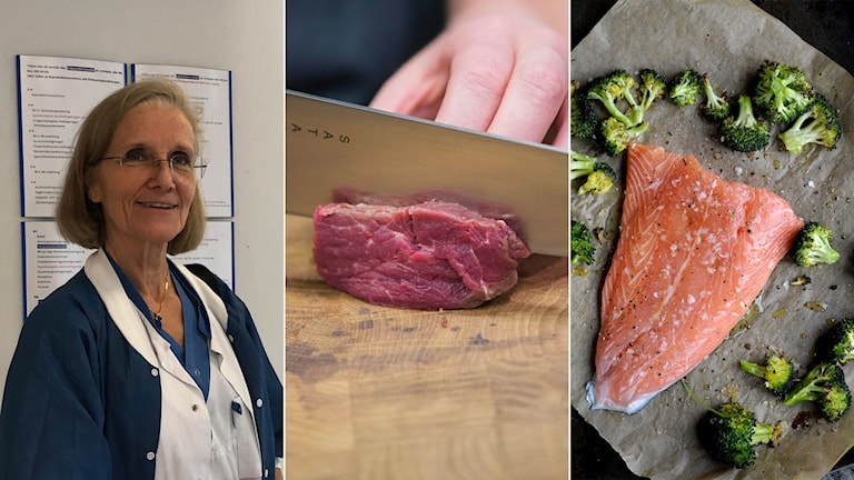 Överläkare Lillemor Berntsson, bild på kött och bild på fisk