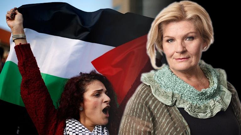 Kvinna med Palestinas flagga och Reporter