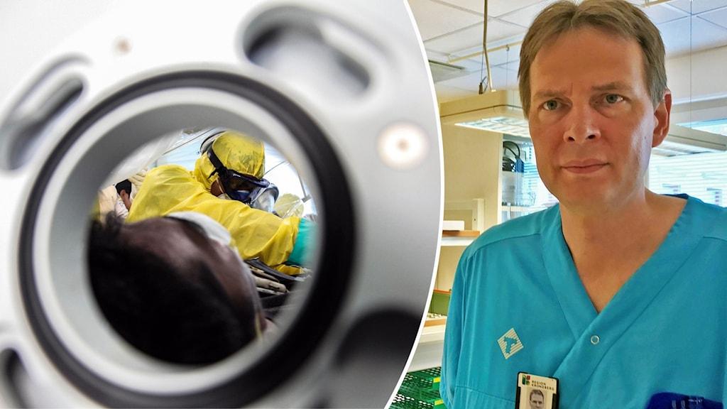 en patient vårdas för corona, Christian Blomkvist på region kronoberg inklippt.