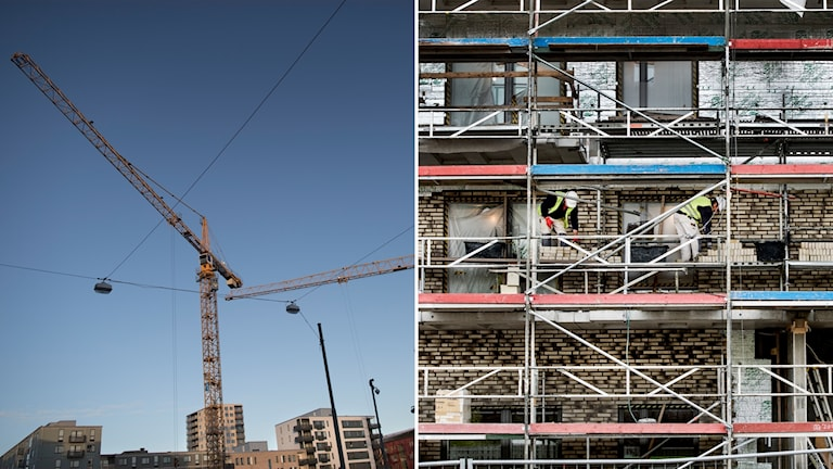 Byggkranar och byggnadsställningar.