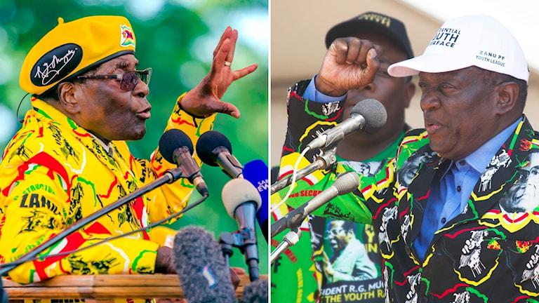 Delad bild: Man i gul kostym som talar i mikrofoner och man i svart-grön kostym som talar i mikrofon.