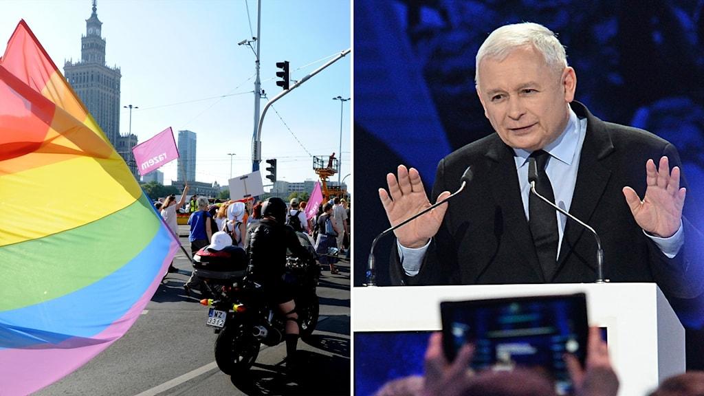 Delad bild: prideparad i Warszawa och man i talarstol med höjda händer