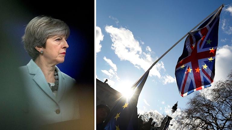 theresa May och två flaggor, en brittisk och en EU-flagga.