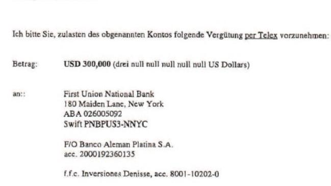 En av de betalnings uppdrag från Bulvanföretaget Griffin. I det här fallet till ett konto med koppling till Costa Ricas dåvarande president.