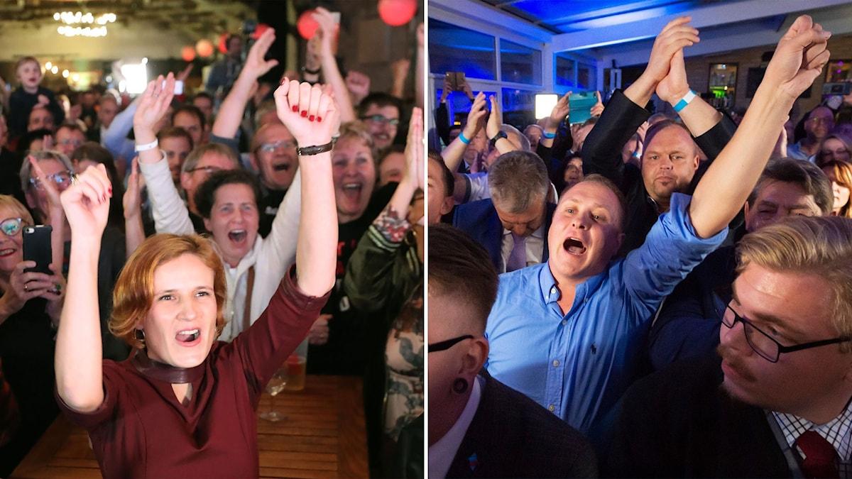 Bild på glada vänsterpartister som firar valframgången och bild på glada AFD-anhängare som gör detsamma.