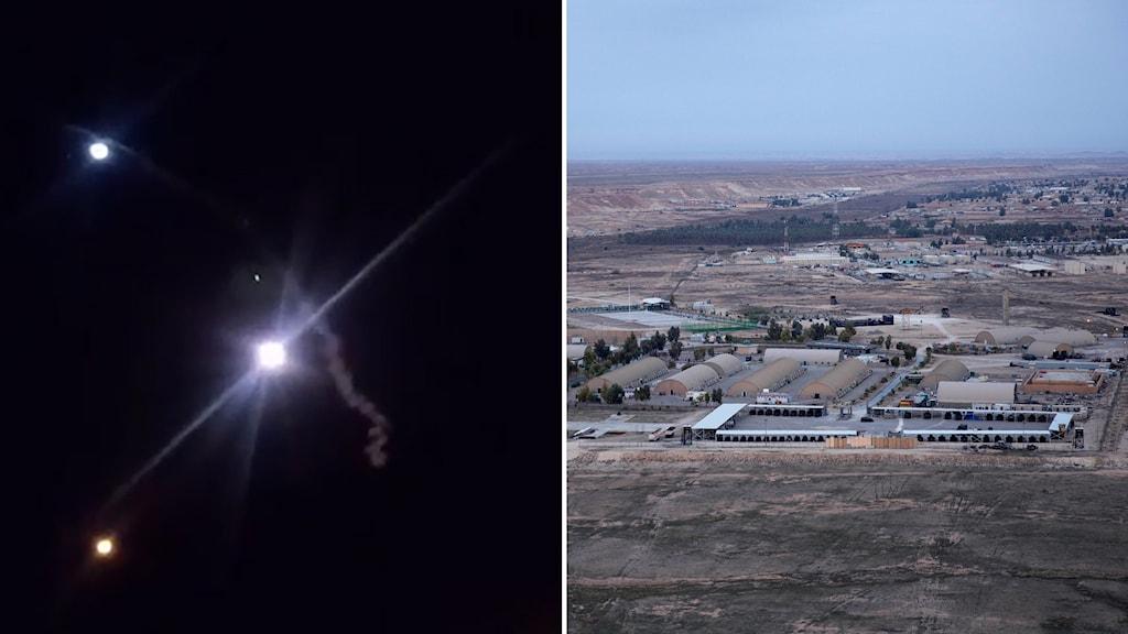 Delad bild: Raketer på mörk himmel, flygbild över militärbas.