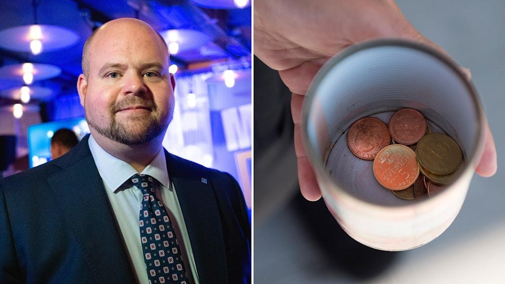 KD:s partisekreterare Peter Kullgren och en kopp med mynt.