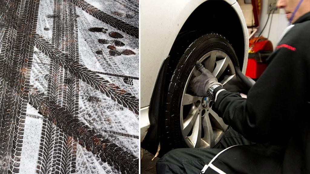 BIldmontage av däckspår i snön och en mekaniker som byter däck på bilverkstad.