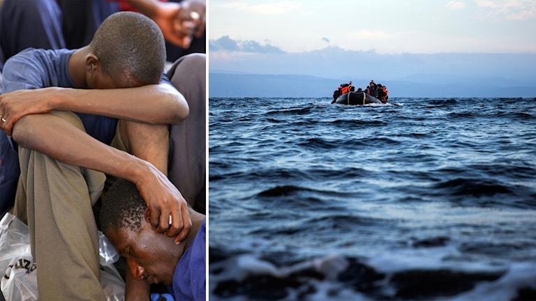 Två migranter begraver huvudet i armarna och bild på båt på vatten.