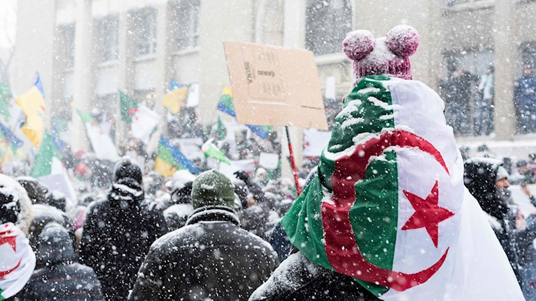 Flagga över ryggtavla under demonstration.