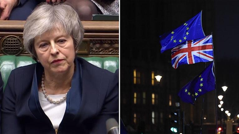 Delad bild: kvinna med bister min, eu-flagga och brittisk flagga.