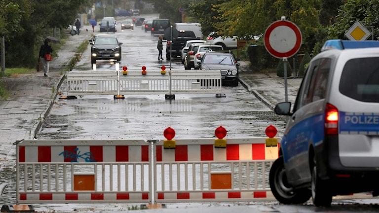 En avspärrad gata i Tyskland.