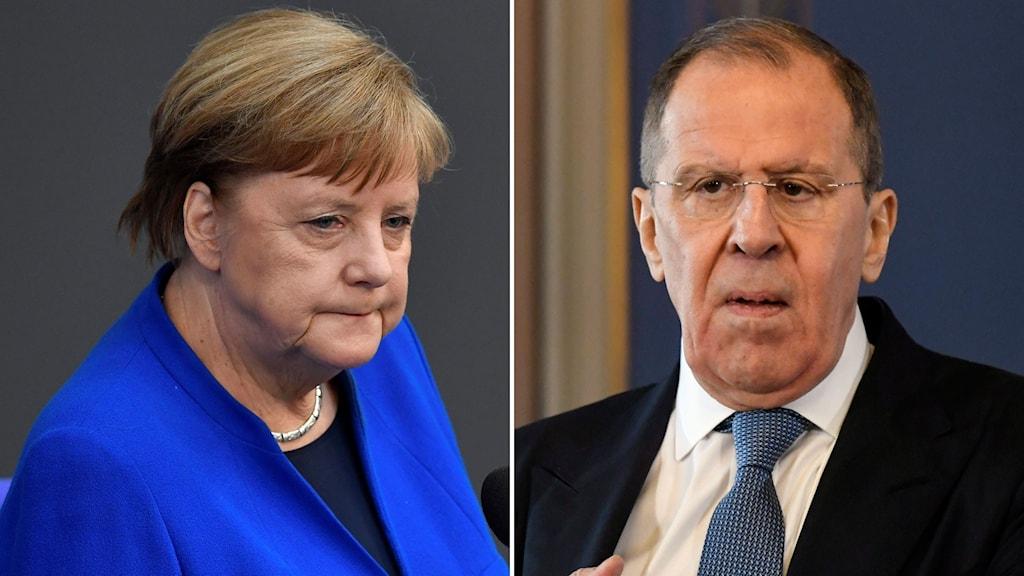 Angela Merkel och Sergej Lavrov.