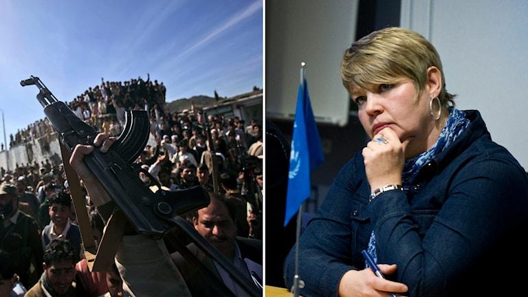 Delad bild: Vapen som hålls upp framför en folkmassa och en kvinna med bekymrad min.