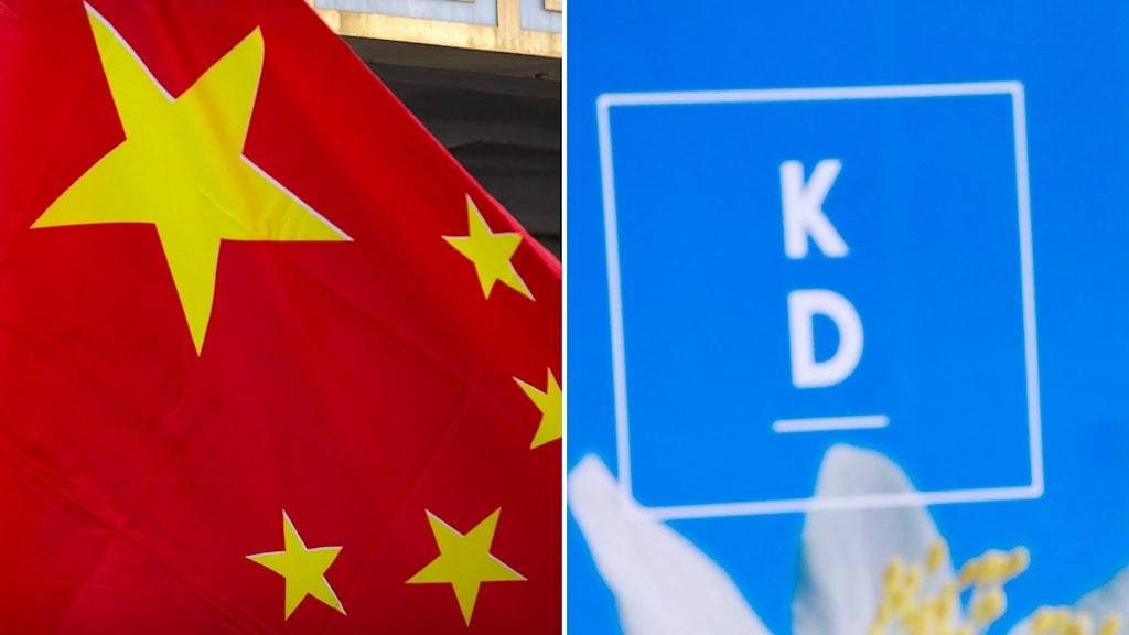 Kinesisk flagga och KD:s logga.