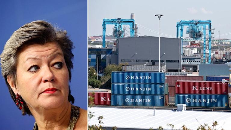 Delad bild: Ylva Johansson och containers i en hamn.