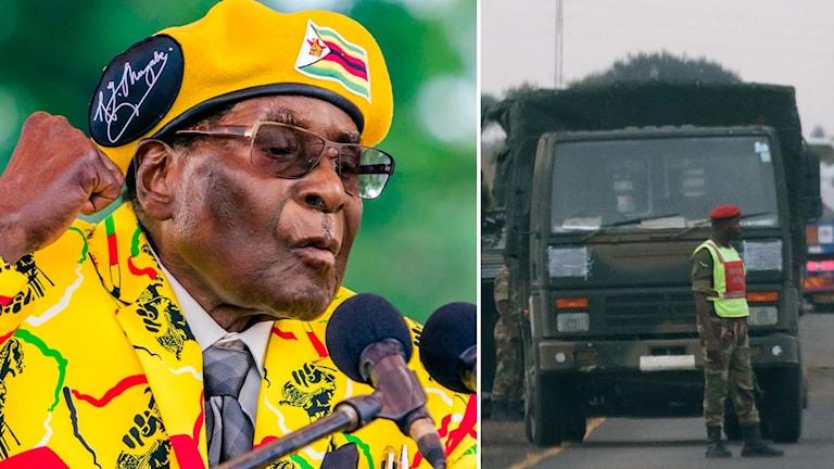 Mugabe och militärfordon.