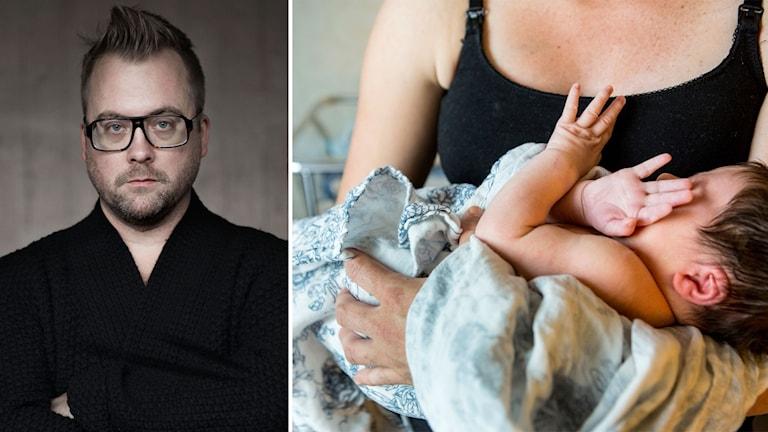 Bildmontage av Mårten Schultz, professor i civilrätt, och ett spädbarn i en kvinnas famn.
