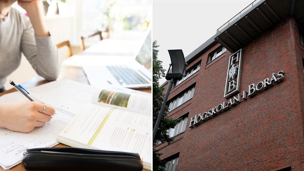 Gymnasieelev pluggar hemma och bild på högskolan i Borås