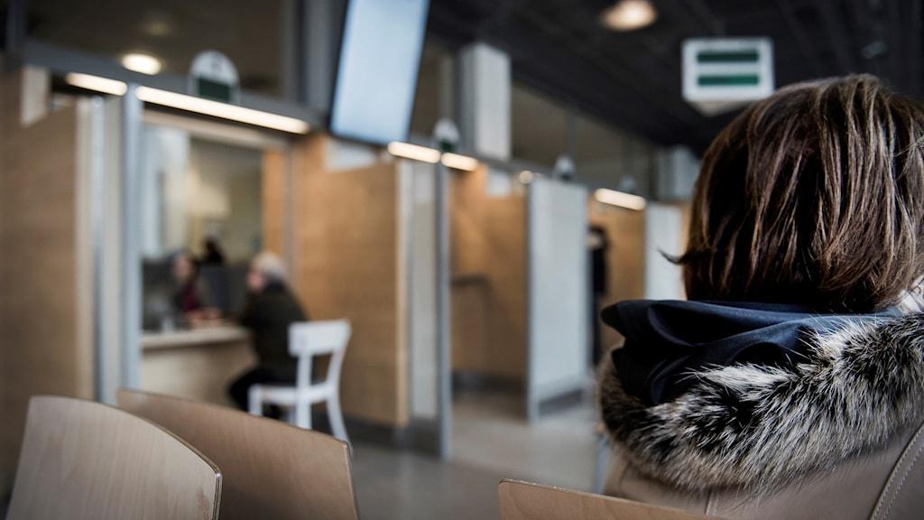 Väntsal på Migrationsverket i Solna