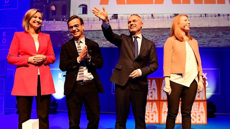 Alliansens partiledare från vänster Ebba Busch Thor (KD), Ulf Kristersson (M), Jan Björklund (L), och Annie Lööf (C).