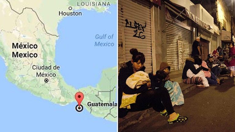 Kraftig jordbävning skakade Mexiko.