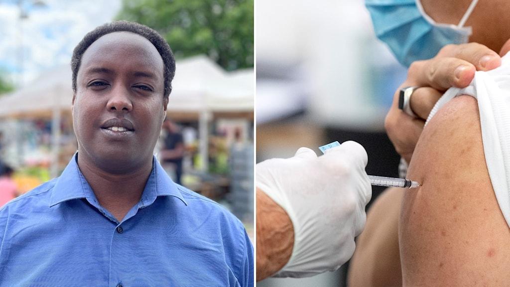 Ahmed Abdirahman och en spruta