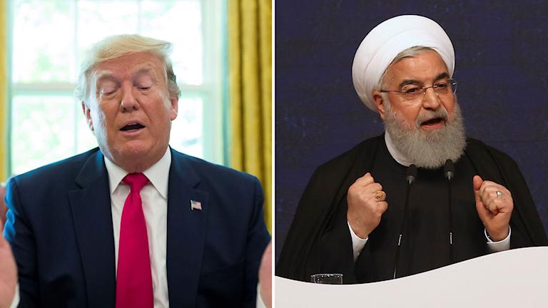 Kollage av USA:s president Donald Trump och Irans president Hassan Rouhani.