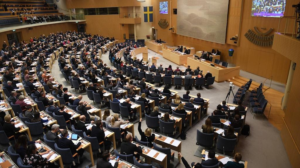Bild från budgetomröstning i riksdagen.