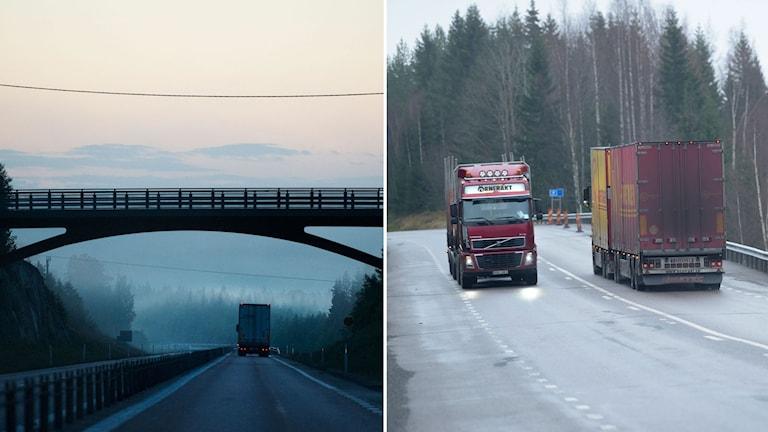 Till höger, vägbro korsar en större väg med en lastbil. Till vänster två tyngre lastbilar i möte på en mindre väg.