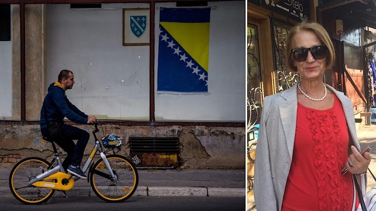 Delad bild: Man cyklar förbi en bosnisk flagga, kvinna på en gata.