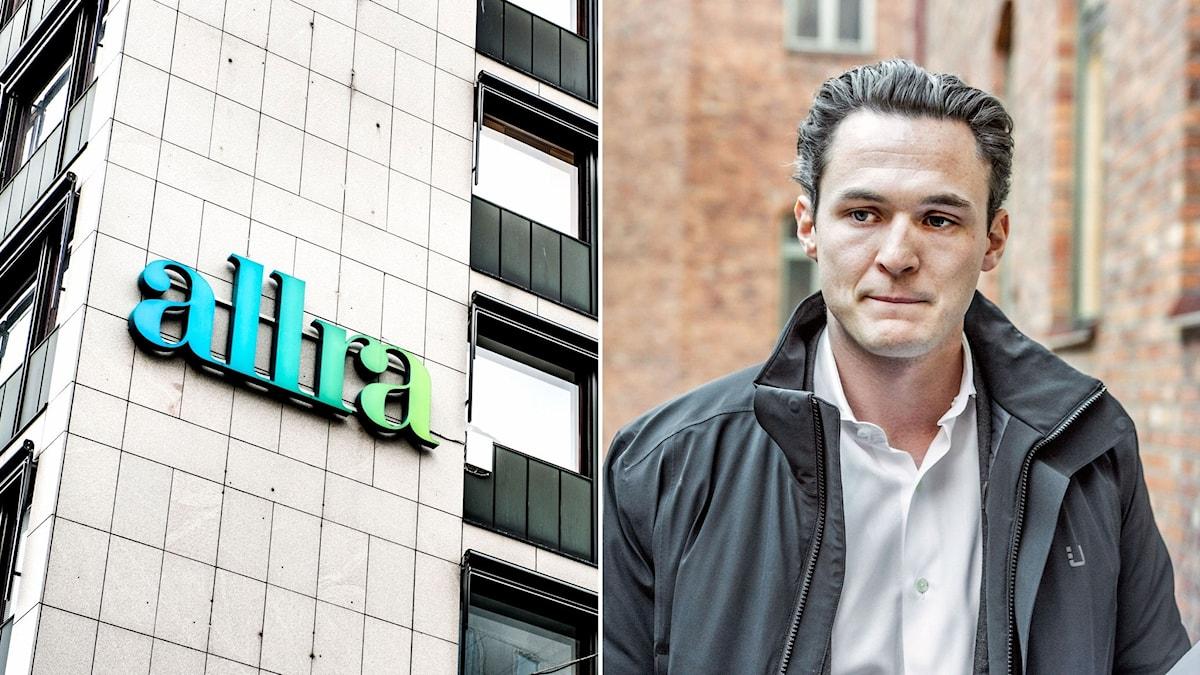 Alexander Ernstberger, vd och koncernchef Allra. Till vänster fonbolaget Allra, skylt på fasad.