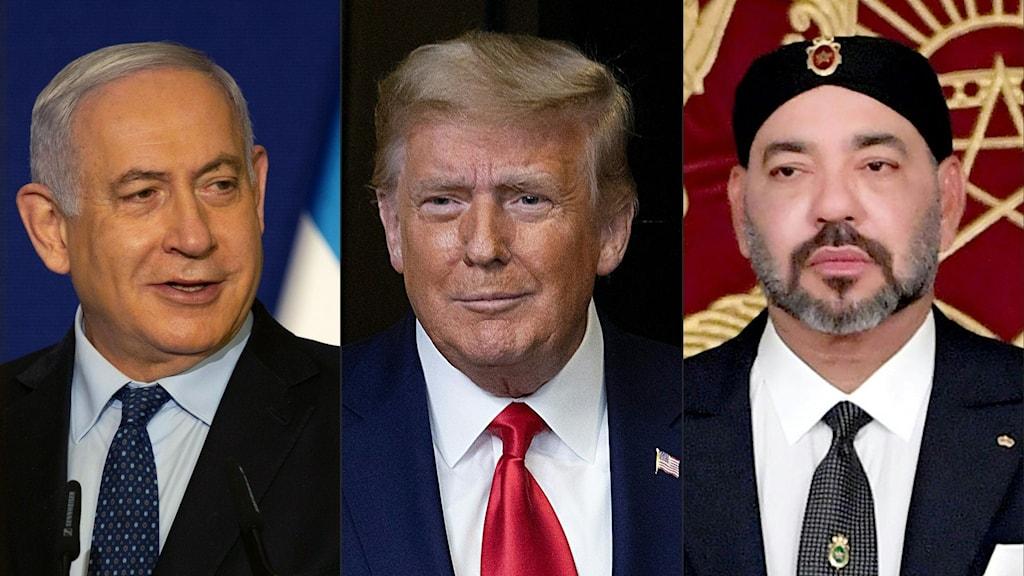 Israels premiärminister Benjamin Netanyahu, USA:s president Donald Trump och Marockos kung Mohammed VI