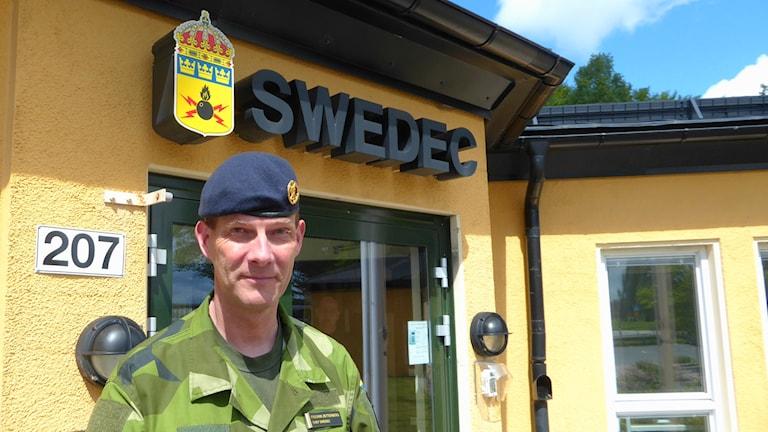 Fredrik Zetterberg , förbandschef på Swedec i Eksjö. Foto: Peter Weyde, Sveriges Radio