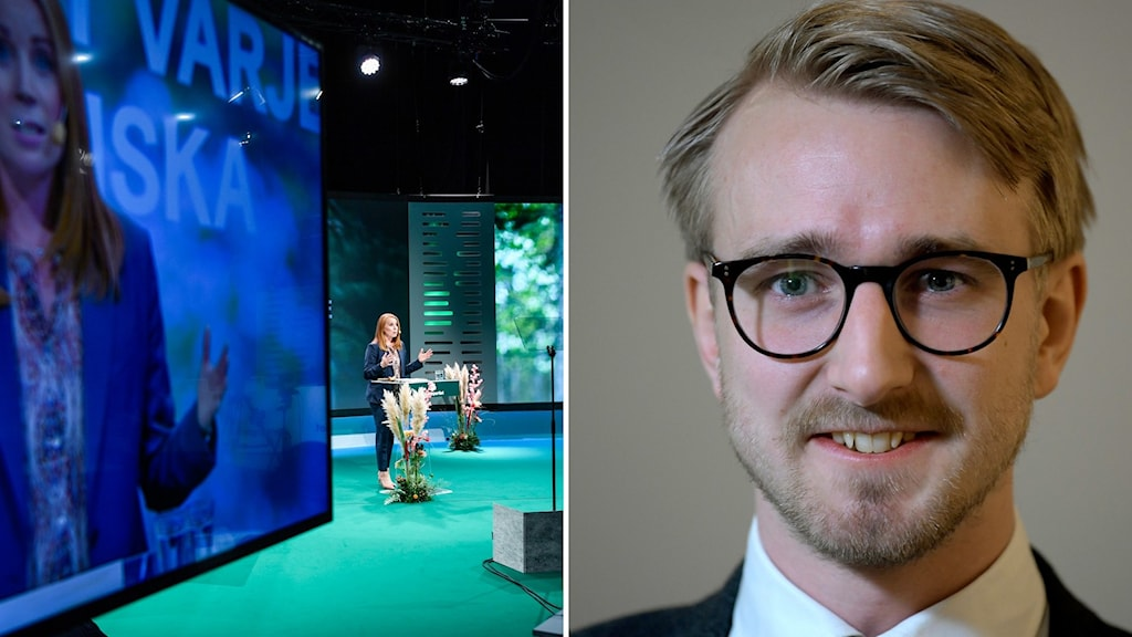 Annie Lööf på Centerpartiets partistämma och Fredrik Christensson, skolpolitisk talesperson.