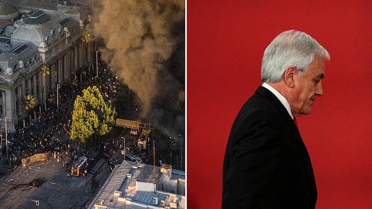Tvådelad bild: Brand och demonstration på gata, bortvänd man mot röd bakgrund.