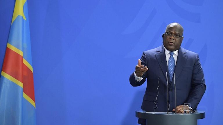Kongo-Kinshasas president Félix Tshisekedi talar i Berlin den 15 november 2019.