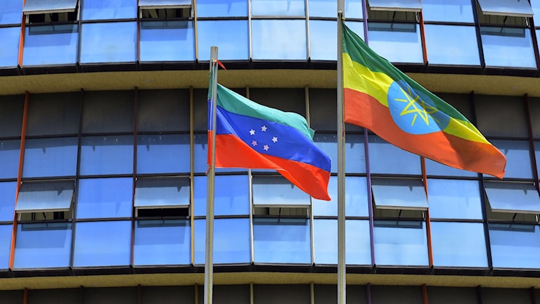 Den inofficiella Sidama-flaggan till vänster om Etiopiens officiella flagga.