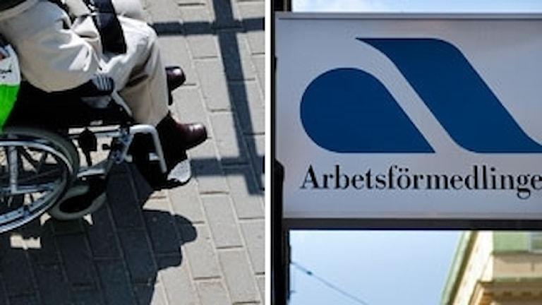 Bild på en rullstolsburen person och en skylt på Arbetsförmedlingen. Foto: Scanpix