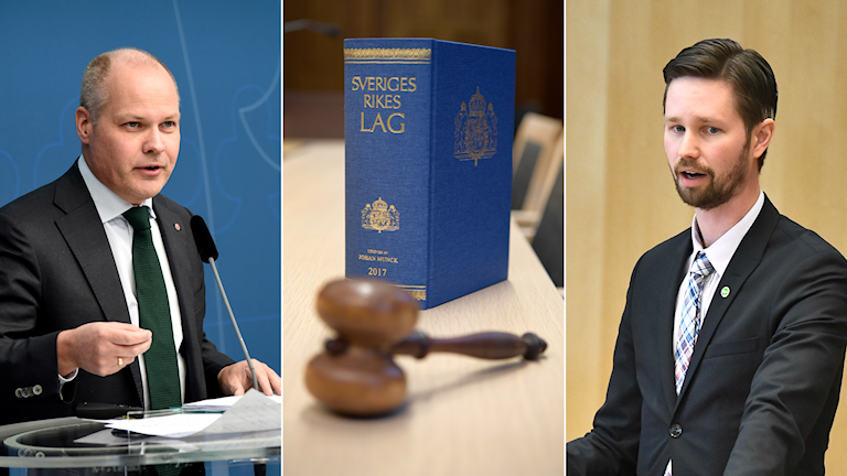 Tredelad bild: Morgan Johansson, lagbok och domarklubba och Rasmus Ling.